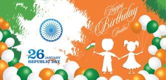 Illustration för vektor för design för kort för hälsning för Indien republikdag 26 Januari - republikdag av Indien vektor illustrationer