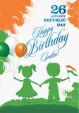 Illustration för vektor för design för kort för hälsning för Indien republikdag 26 Januari - republikdag av Indien stock illustrationer