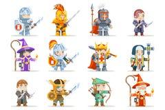 Illustration för vektor för design för modiga för hjältar för fantasiuppsättningrpg för tecken symboler för vektor plan royaltyfri illustrationer