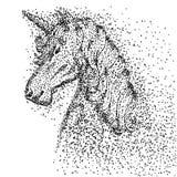 Illustration för vektor för enhörninghuvudpartikel vektor illustrationer