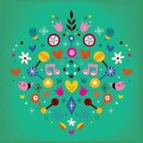 Illustration för vektor för abstrakt konst för hjärta för naturförälskelseharmoni retro Arkivfoto