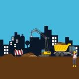 Illustration för vektor för arbetare för plats för sträckningstadskonstruktion vektor illustrationer