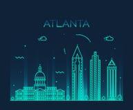 Illustration för vektor för Atlanta horisont linjär moderiktig Royaltyfria Bilder