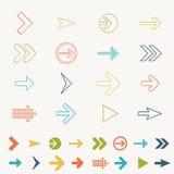 Illustration för vektor för attraktion för hand för klotter för uppsättning för pilteckensymbol av beståndsdelar för rengöringsduk Arkivfoton