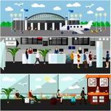 Illustration för vektor för begrepp för flygplatsterminal Flygbiljettkontor, incheckningsdiskar och väntande område Royaltyfri Bild