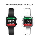 Illustration för vektor för begrepp för klocka för bildskärm för hjärtahastighet Royaltyfri Fotografi