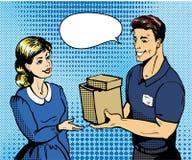 Illustration för vektor för begrepp för leverans för popkonst Leveransman som räcker asken till kvinnan vektor illustrationer