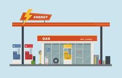 Illustration för vektor för bensinstationtecknad filmlägenhet stock illustrationer
