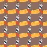 Illustration för vektor för bullar för vete för aptitretande för modellbakgrund för varmkorv sömlös ketchup senapsgult ny royaltyfri illustrationer