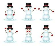 Illustration för vektor för design 3d för symboler för Emoticon för julsnögubbeleende fastställd realistisk stock illustrationer