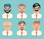 Illustration för vektor för design för affärsmanAvatars Retro Cartoon tecken royaltyfri illustrationer