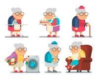 Illustration för vektor för design för gammal dam Character Cartoon Flat för hushållfarmor Royaltyfri Bild