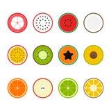 Illustration för vektor för design för lägenhet för fruktsymbolsuppsättning Arkivfoton