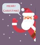 Illustration för vektor för design för lägenhet för kort för hälsning för lyckligt nytt år för Santa Looking Out Corner Cartoon t Royaltyfri Fotografi