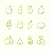 Illustration för vektor för design för lägenhet för uppsättning för fruktöversiktssymbol Fotografering för Bildbyråer