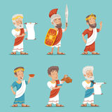 Illustration för vektor för design för tecknad film för grekRoman Retro Vintage Character Icon uppsättning royaltyfri illustrationer