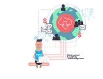 Illustration för vektor för Digital nomadbegrepp Fotografering för Bildbyråer