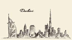 Illustration för vektor för Dubai stadshorisont hand dragen vektor illustrationer