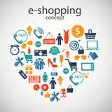 illustration för vektor för E-shopping begreppssymboler royaltyfri illustrationer