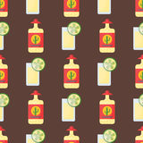 Illustration för vektor för exponeringsglas för coctail för drycker för modell för alkoholdrinkar sömlös flaska drucken Arkivfoton
