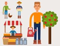Illustration för vektor för folk för arbetare för trädgårdsmästare för åkerbrukt yrke för person för bondeteckenman lantlig royaltyfri illustrationer