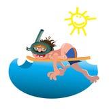 Illustration för vektor för fritid för semester för aktivitet för sport för dykareutrustningvatten Royaltyfria Foton