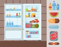 Illustration för vektor för frys för anordning för kyl för redskap för hushåll för kitchenware för organisk mat för kylskåp royaltyfri illustrationer