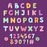 Illustration för vektor för garnering för stil för gullig tappning för bokstäver för patchworkalfabettypografi chic royaltyfri illustrationer