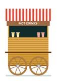 Illustration för vektor för gatamatvagn dricker varmt Isolerad illustration på vitbakgrund Royaltyfri Fotografi