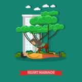 Illustration för vektor för hjärtamassage i plan stil vektor illustrationer