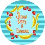 Illustration för vektor för jordgubbe- och bananefterrättrunda Royaltyfri Bild