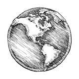 Illustration för vektor för jordklotöversiktsteckning av knapphändigt Arkivbilder