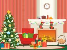 Illustration för vektor för jullivingroomlägenhet inre Träd för nytt år för jul, röd fåtölj och spis med sockor royaltyfri illustrationer