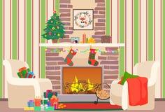 Illustration för vektor för jullivingroomlägenhet inre Träd och spis för nytt år för jul med sockor Julvägg royaltyfri illustrationer
