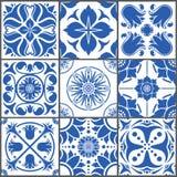 Illustration för vektor för keramiska tegelplattor för tappning För designtextur för golv sömlös uppsättning royaltyfri illustrationer
