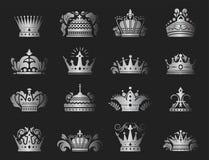 Illustration för vektor för kingdomsign för högvärdig för silver för kronakonungtappning prydnad för emblem heraldisk lyxig stock illustrationer