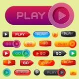 Illustration för vektor för klick för fläck för spelare för beståndsdel för website för internet för massmedia för lek för UI-man stock illustrationer