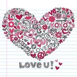 Illustration för vektor för klotter för hjärtaförälskelse knapphändig royaltyfri illustrationer