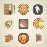 Illustration för vektor för kokkonst för traditionell för Japan matmål för matlagning lunch för kultur japansk asiatisk vektor illustrationer