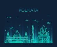 Illustration för vektor för Kolkata horisont linjär moderiktig Arkivbilder