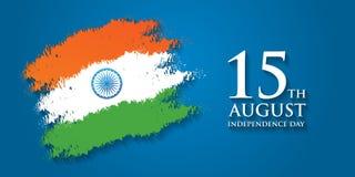 Illustration för vektor för kort för Indien självständighetsdagenhälsning 15th august självständighetsdagen Royaltyfria Bilder