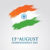 Illustration för vektor för kort för Indien självständighetsdagenhälsning 15th august självständighetsdagen Royaltyfri Foto