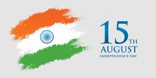 Illustration för vektor för kort för Indien självständighetsdagenhälsning 15th august självständighetsdagen Arkivfoto