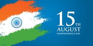 Illustration för vektor för kort för Indien självständighetsdagenhälsning 15th august självständighetsdagen Arkivbild