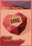 Illustration för vektor för kort för valentindaghälsning Royaltyfri Fotografi