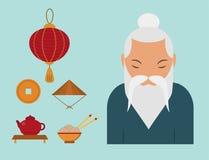 Illustration för vektor för kultur för kinesisk asiatisk orientalisk garneringsightfestival guld- forntida traditionell royaltyfri illustrationer