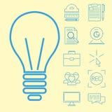 Illustration för vektor för kunskap för lager för bok för utbildning för personal för utbildning för plana översiktssymboler onli vektor illustrationer