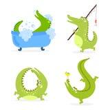 Illustration för vektor för lägenhet för alligator för reptil för flod för djurliv för grön krokodil för tecknad film rolig rovdj vektor illustrationer