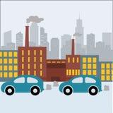 Illustration för vektor för lägenhet för baner för avfalls för rör för växt för förorening för fabriksbyggnadsnatur Arkivfoto