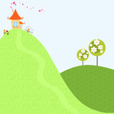 Illustration för vektor för land för by för hem- för trädvårbakgrund för himmel för hus för kulle blomma för trädgård älskvärd Arkivbild